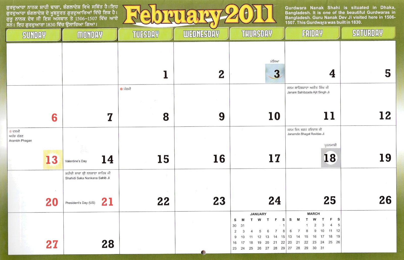 nanakshahi calendar   y2011